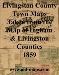 Map Cartouche, Livingston Co. Michigan 1859 Old Town Map Custom Print - Livingston Co.
