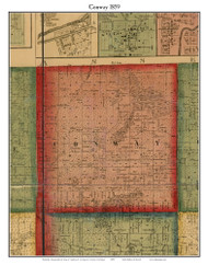 Conway, Michigan 1859 Old Town Map Custom Print - Livingston Co.