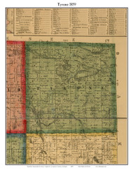 Tyrone, Michigan 1859 Old Town Map Custom Print - Livingston Co.