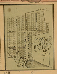 Hanburg Village, Michigan 1859 Old Town Map Custom Print - Livingston Co.