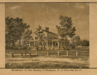 Residence of Gov. Kinsley S. Bingham, Michigan 1859 Old Town Map Custom Print - Livingston Co.