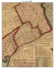 Detroit Area, Michigan 1860 Old Town Map Custom Print - Wayne Co.