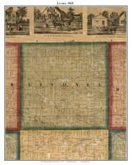Livonia, Michigan 1860 Old Town Map Custom Print - Wayne Co.