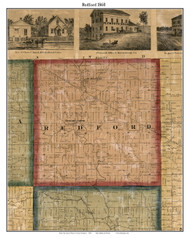 Redford, Michigan 1860 Old Town Map Custom Print - Wayne Co.