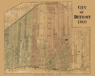 Detroit City, Detroit Area, Michigan 1860 Old Town Map Custom Print - Wayne Co.