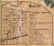 Wayne Village, Nankin, Michigan 1860 Old Town Map Custom Print - Wayne Co.