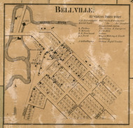 Bellville Village, Van Buren, Michigan 1860 Old Town Map Custom Print - Wayne Co.