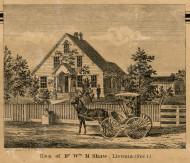 Shaw Residence, Livonia, Michigan 1860 Old Town Map Custom Print - Wayne Co.