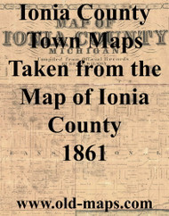 Map Cartouche, Ionia Co. Michigan 1861 Old Town Map Custom Print - Ionia Co.