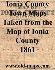 Map Cartouche, Ionia Co. Michigan 1861 Old Town Map Custom Print - Ionia Co.