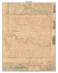 Danby, Michigan 1861 Old Town Map Custom Print - Ionia Co.