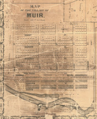 Muir, Michigan 1861 Old Town Map Custom Print - Ionia Co.