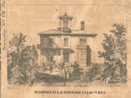Residence of A.B. Robinson, Michigan 1861 Old Town Map Custom Print - Ionia Co.