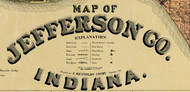 Map Cartouche, Jefferson Co. Indiana 1900 Old Town Map Custom Print -