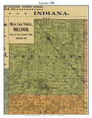 Lancaster, Indiana 1900 Old Town Map Custom Print - Jefferson Co.