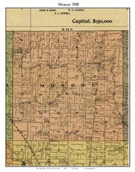Monroe, Indiana 1900 Old Town Map Custom Print - Jefferson Co.