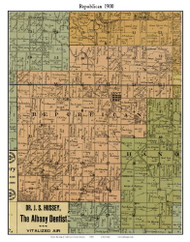 Republican, Indiana 1900 Old Town Map Custom Print - Jefferson Co.