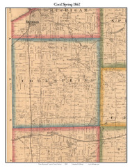 Cool Spring, Indiana 1862 Old Town Map Custom Print - Laporte Co.