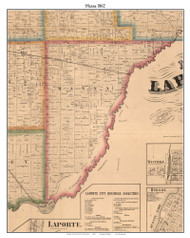 Hanna, Indiana 1862 Old Town Map Custom Print - Laporte Co.