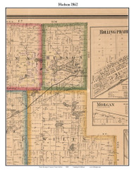 Hudson, Indiana 1862 Old Town Map Custom Print - Laporte Co.