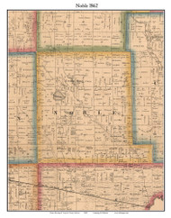 Noble, Indiana 1862 Old Town Map Custom Print - Laporte Co.