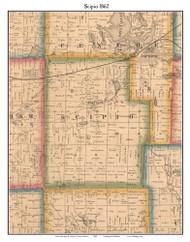 Scipio, Indiana 1862 Old Town Map Custom Print - Laporte Co.