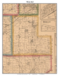 Wills, Indiana 1862 Old Town Map Custom Print - Laporte Co.