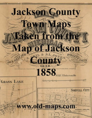 Map Cartouche, Jackson Co. Michigan 1858 Old Town Map Custom Print - Jackson Co.