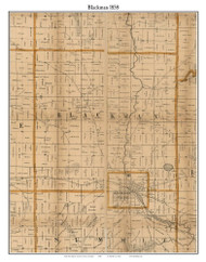 Blackman, Michigan 1858 Old Town Map Custom Print - Jackson Co.