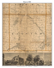 Hanover, Michigan 1858 Old Town Map Custom Print - Jackson Co.