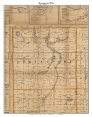 Springsport, Michigan 1858 Old Town Map Custom Print - Jackson Co.