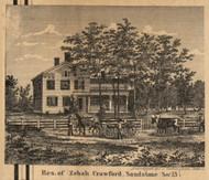 Residence of Zebah Crawford, Michigan 1858 Old Town Map Custom Print - Jackson Co.