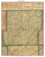 Washington, Indiana 1866 Old Town Map Custom Print - Marion Co.