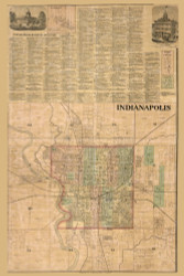 Indianapolis, Center, Indiana 1866 Old Town Map Custom Print - Marion Co.
