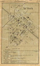 Acton Village, Franklin, Indiana 1866 Old Town Map Custom Print - Marion Co.