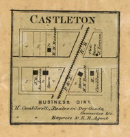 Castleton Village, Lawrence, Indiana 1866 Old Town Map Custom Print - Marion Co.