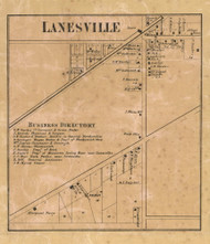 Lanesville Village, Lawrence, Indiana 1866 Old Town Map Custom Print - Marion Co.