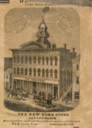 New York Store, Indianapolis, Center, Indiana (Second View) 1866 Old Town Map Custom Print - Marion Co.