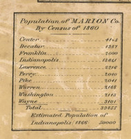 Population from 1860 Census, Marion County, Indiana 1866 Old Town Map Custom Print -