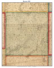 Sherman, Michigan 1858 Old Town Map Custom Print - St. Joseph Co.