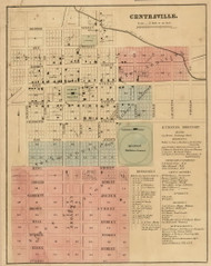 Centreville Village, Nottawa, Michigan 1858 Old Town Map Custom Print - St. Joseph Co.