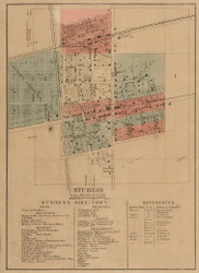 Sturgis Village, Sturgis, Michigan 1858 Old Town Map Custom Print - St. Joseph Co.