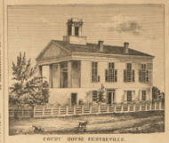 Court House, Centreville, Nottawa, Michigan 1858 Old Town Map Custom Print - St. Joseph Co.