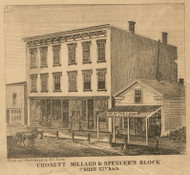 Crosett, Millard, Spencer Stores, Three Rivers, Michigan 1858 Old Town Map Custom Print - St. Joseph Co.