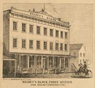 Kelseys Block, Three Rivers, Michigan 1858 Old Town Map Custom Print - St. Joseph Co.