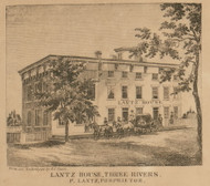 Lantz House, Three Rivers, Michigan 1858 Old Town Map Custom Print - St. Joseph Co.