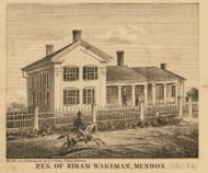 Wakeman Residence, Mendon, Michigan 1858 Old Town Map Custom Print - St. Joseph Co.