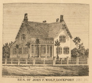 Wolf Residence, Lockport, Michigan 1858 Old Town Map Custom Print - St. Joseph Co.