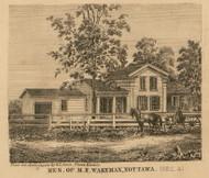 Wakeman Residence, Nottawa, Michigan 1858 Old Town Map Custom Print - St. Joseph Co.