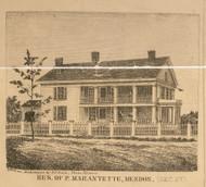 Marantette Residence, Mendon, Michigan 1858 Old Town Map Custom Print - St. Joseph Co.